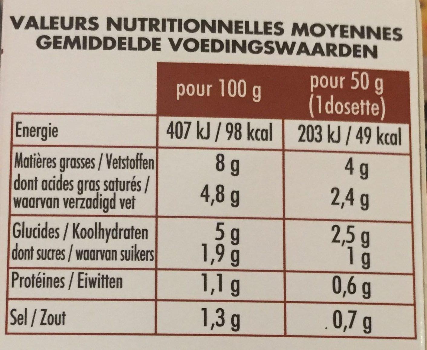 Sauce Forestière Christian Potier - Informations nutritionnelles