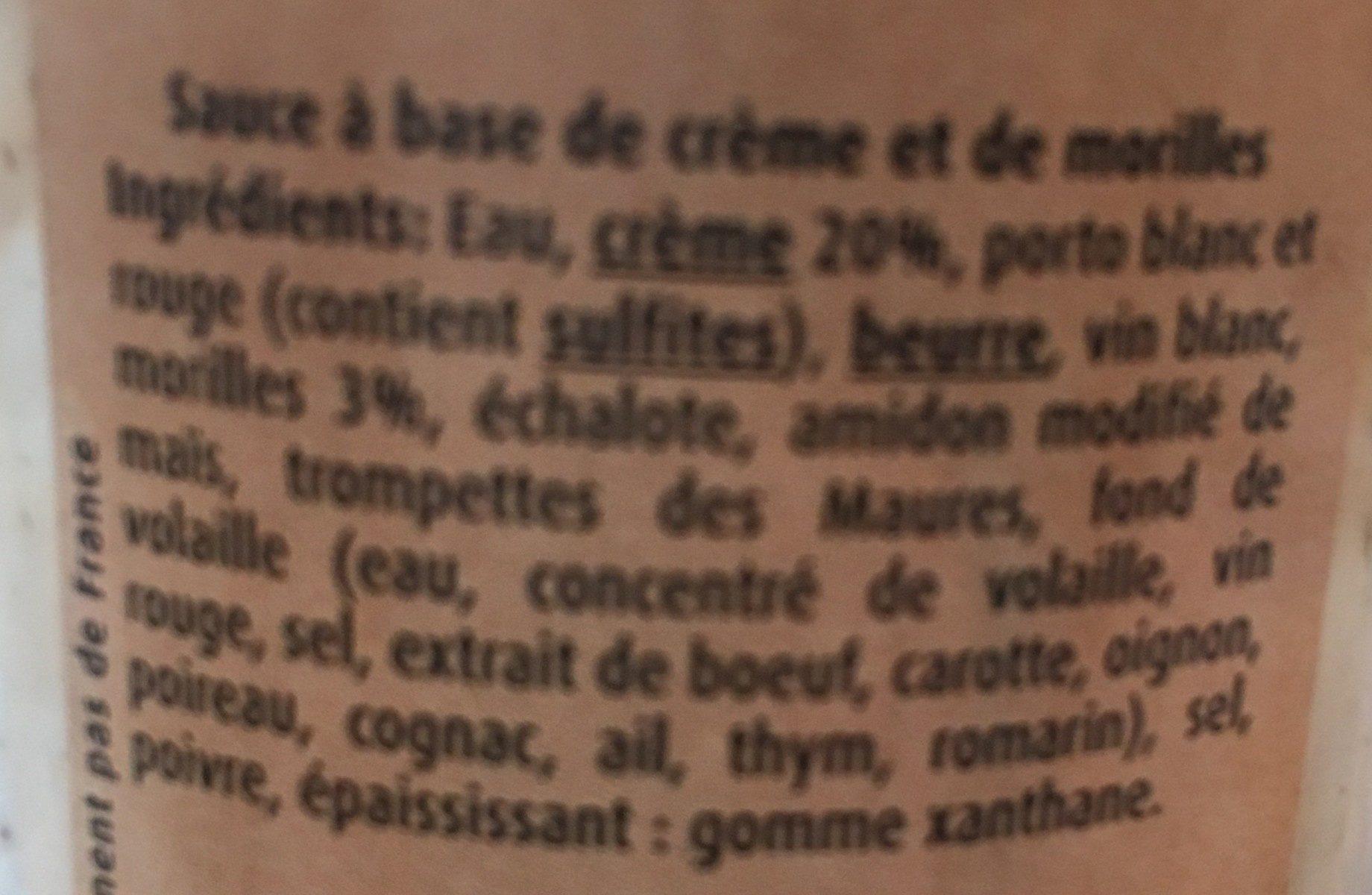 Sauce Morilles - Ingrédients - fr