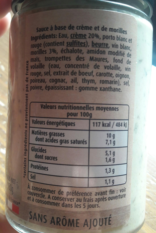 Sauce Morilles - Informations nutritionnelles - fr