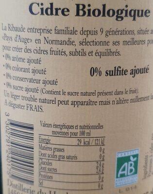 Cidre biologique - Informations nutritionnelles - fr