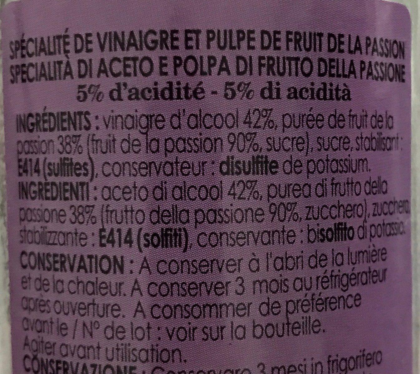 Vinaigre et pulpe de fruit de la passion - Ingredients - fr