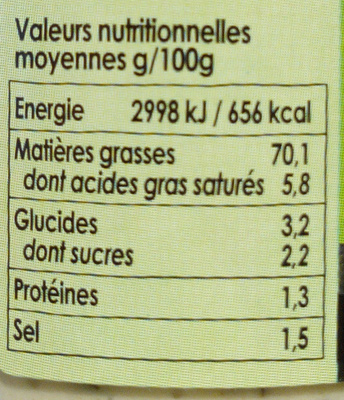 Sauce tartare - Informations nutritionnelles - fr