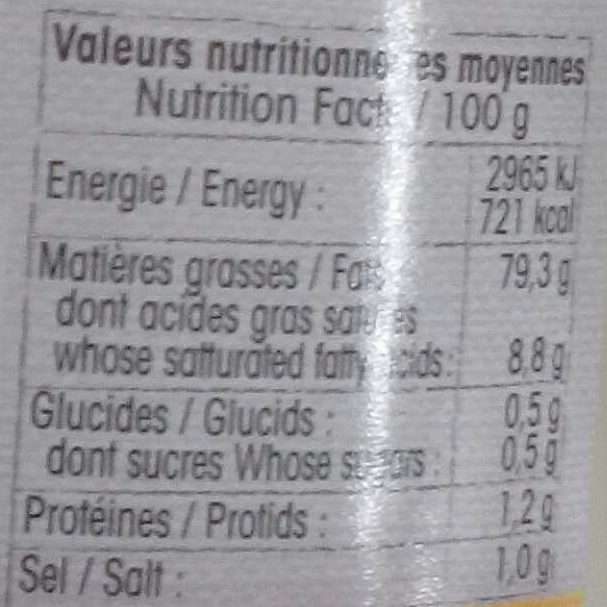Mayonnaise Nature - Nutrition facts - fr