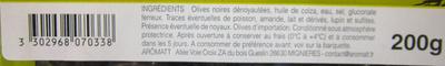 Olives dénoyautées noires nature Arômatt - Ingrediënten