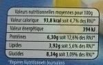 Brandade de morue parmentière à l'huile d'olive - Informations nutritionnelles