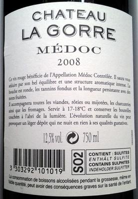 Chateau La Gorre 2008 - Ingrédients