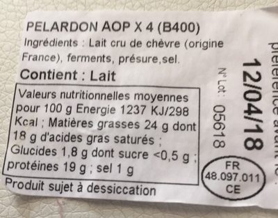 Pélardon AOP - Ingredients