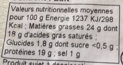 Pélardon AOP - Nutrition facts