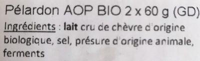 Pelardon AOP BIO - Ingrediënten