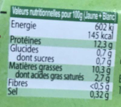 6 oeufs biologiques - Nutrition facts