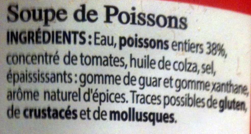 Soupe de poissons à la Sétoise - Ingrédients - fr