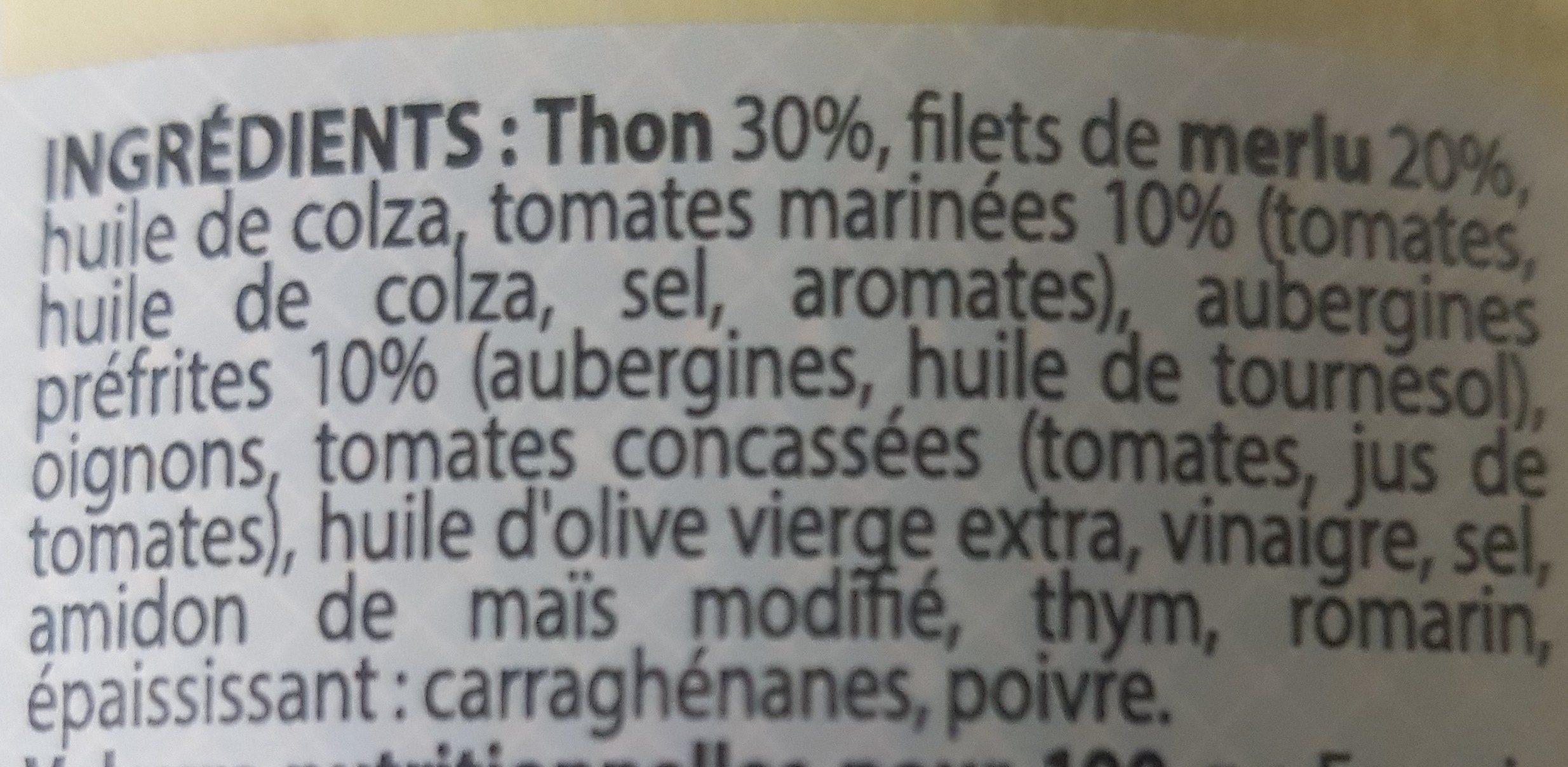 Rillettes de Thon Aubergines et Tomates Marinées - Ingredients