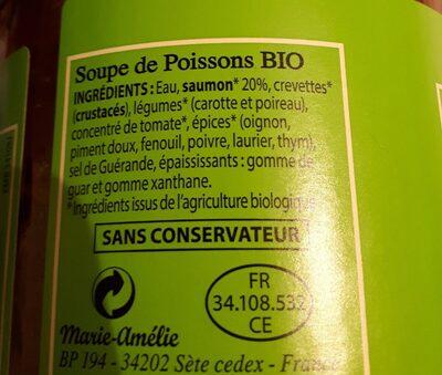 Soupe de poissons Bio - Ingrediënten