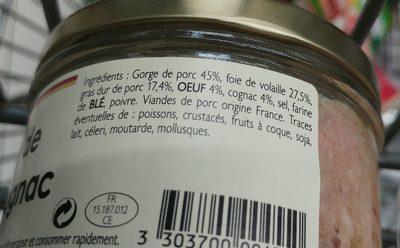 Terribe de foie de volaille au cognac - Ingrédients - fr