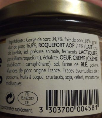 Terrine paysanne au roquefort AOP - Ingrédients