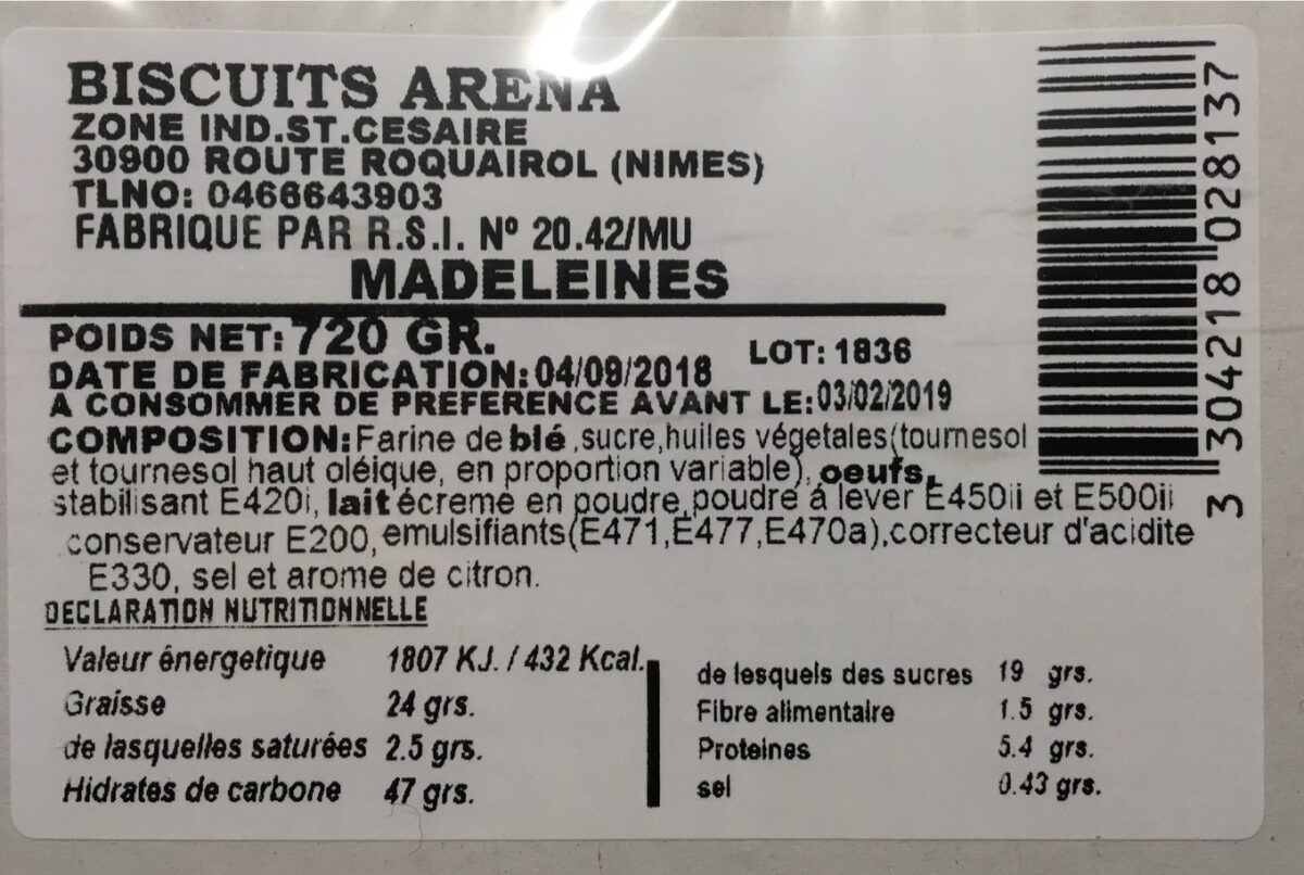 Madeleine - Ingrediënten - fr