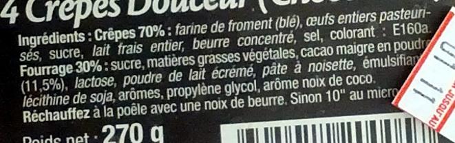 4 Crêpes Douceur (Choco-coco) - Ingredients - fr