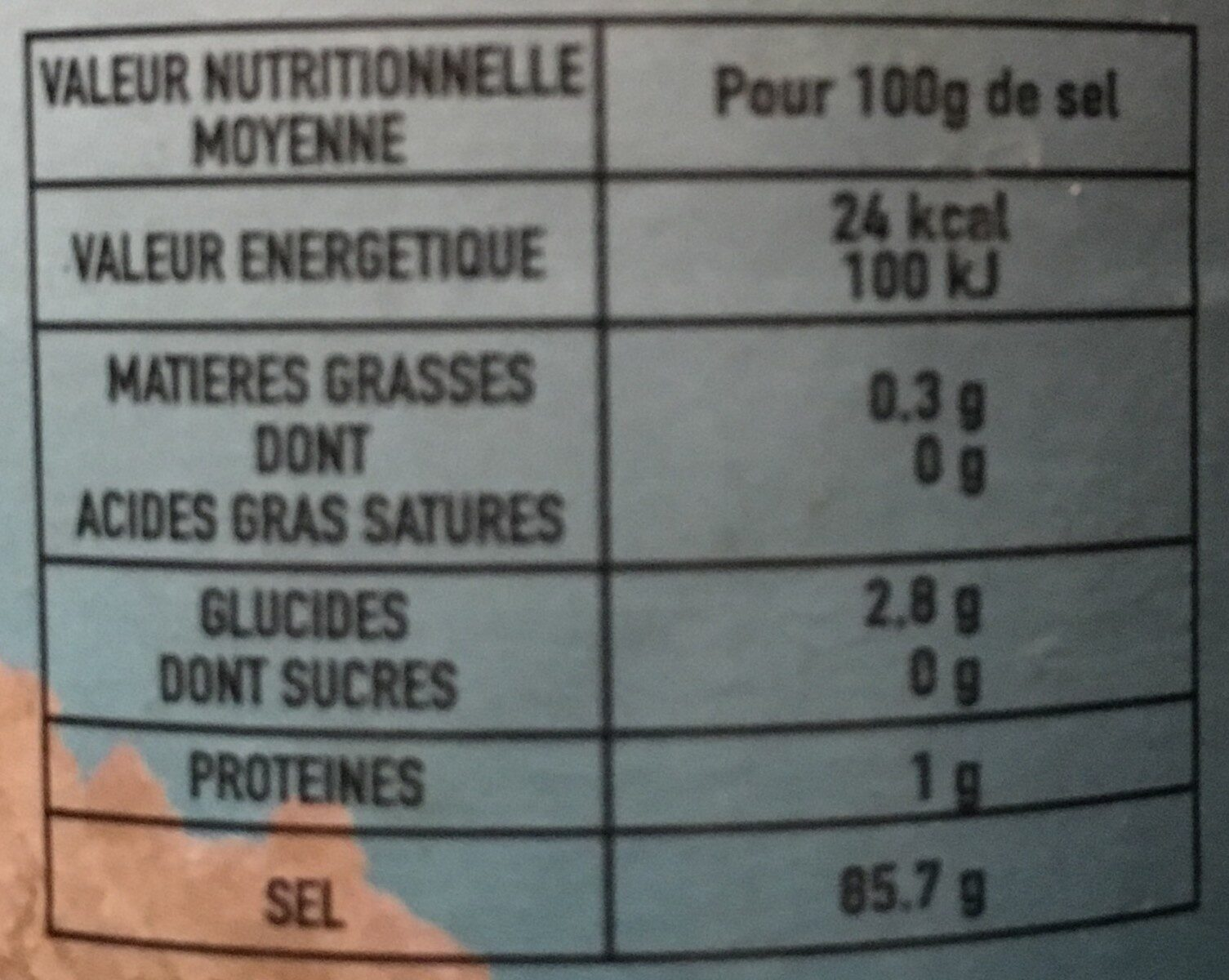 AlgoSel - Nutrition facts - fr