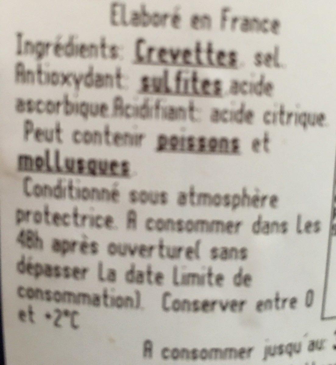 Crevettes entieres cuites sauvages - Ingredients - fr