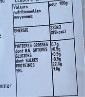Crevettes entieres cuites sauvages - Nutrition facts - fr