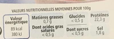 Crevettes cuites - Informations nutritionnelles - fr
