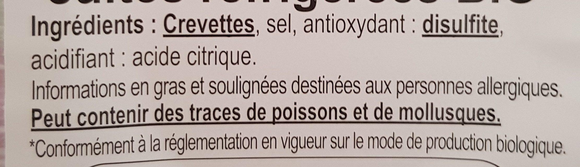 Crevettes bio - Ingredients - fr