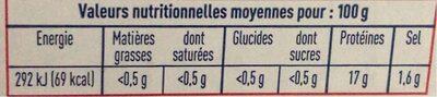 Crevettes bio - Nutrition facts