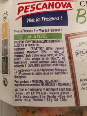 Persillade de Crevettes Bio Ail et Persil - Ingrédients - fr