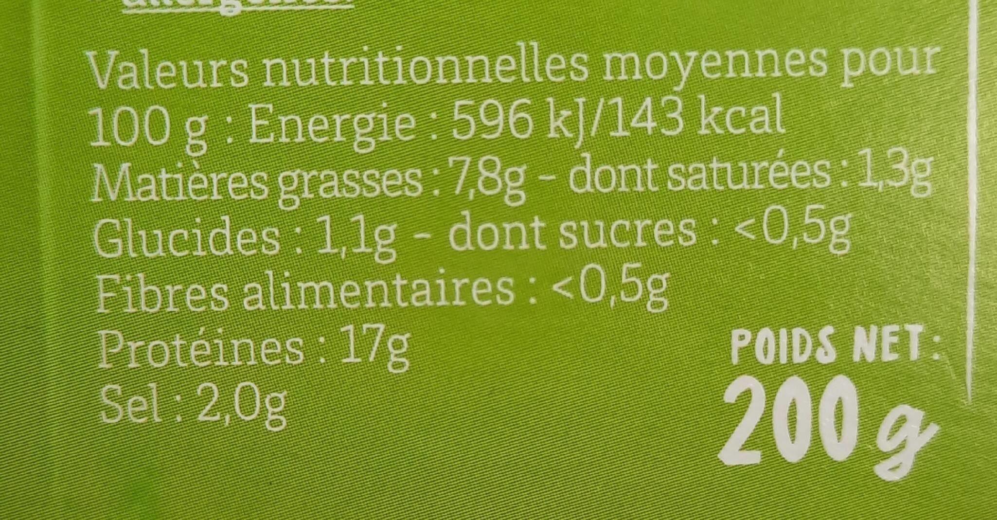 Persillade de Crevettes Bio Ail et Persil - Informations nutritionnelles - fr