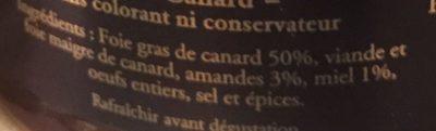 Terrine au Foie Gras, Amandes & Miel - Ingrédients - fr
