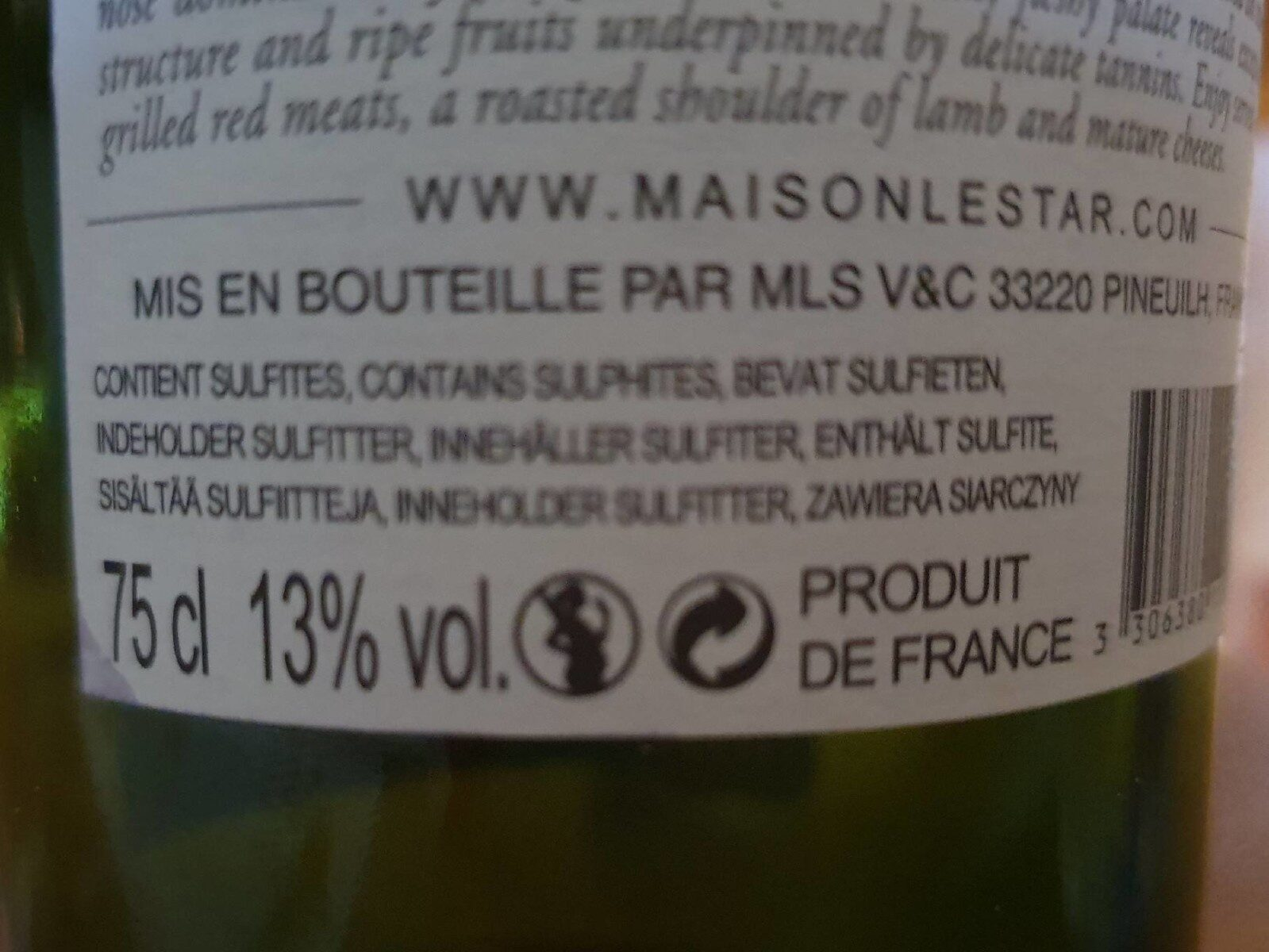 vin - Nutrition facts
