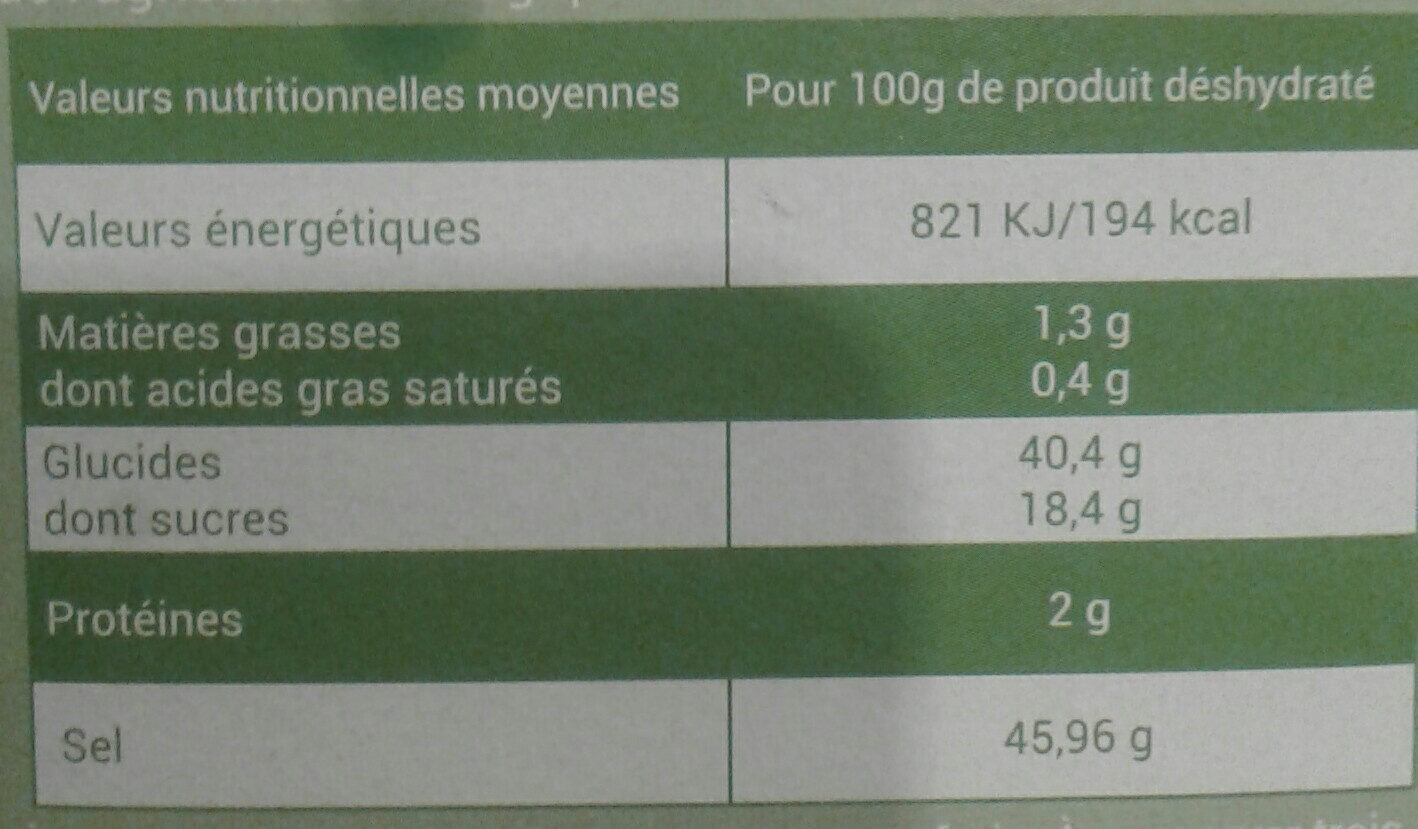 Bouillon de legumes - Informations nutritionnelles