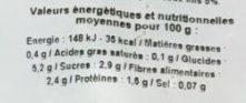 Légumes Surgelés - Nutrition facts - fr