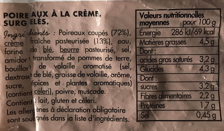 Poireaux à la crème - Ingrédients - fr