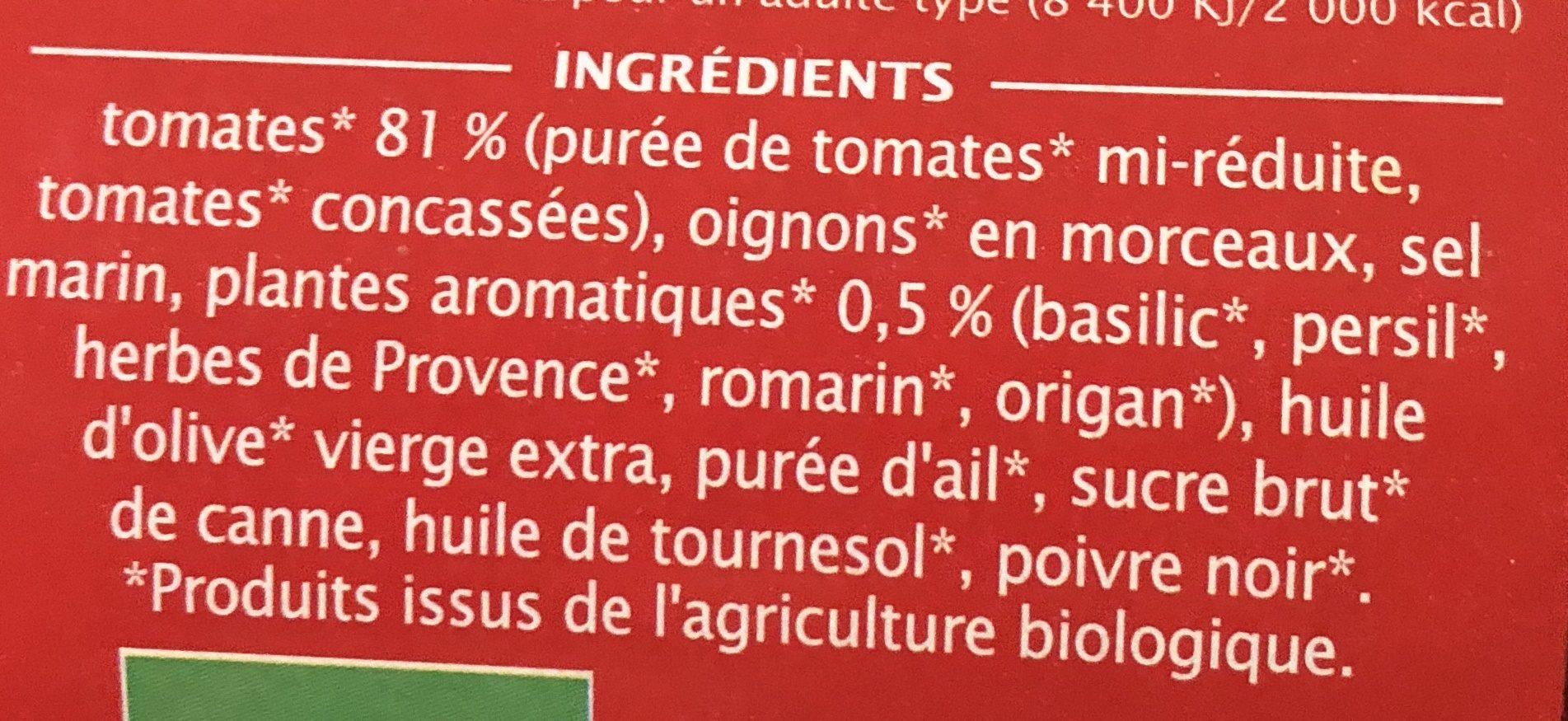 Sauce tomate Provencale aux fines herbes - Ingrédients