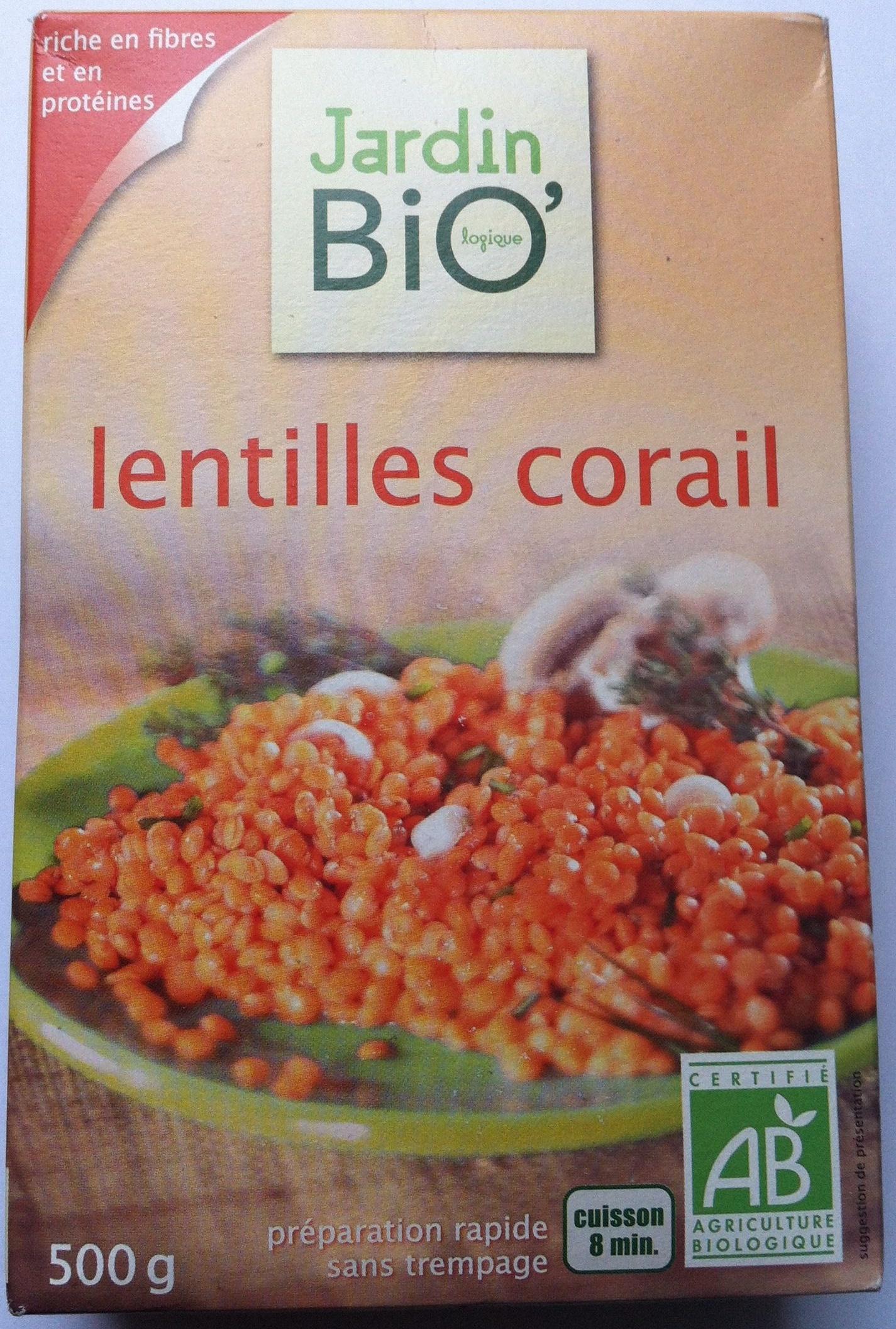 Lentilles corail Bio 500 g Jardin Bio