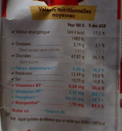 Coeur de Maman Farine de Blé + - Informations nutritionnelles
