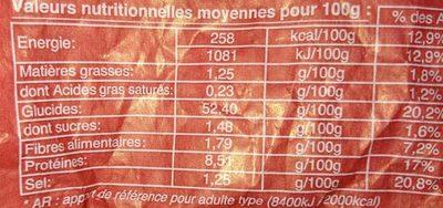 Baguette de Tradition Française - Valori nutrizionali - fr