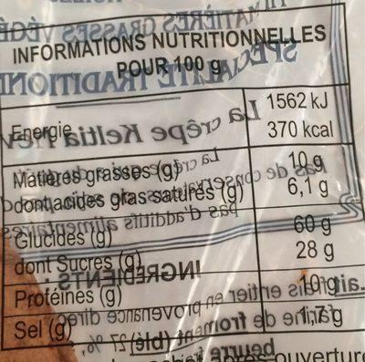 12 Crepes artisanales pur beurre Keltia Nevez, sachet de 1 x - Informations nutritionnelles - fr