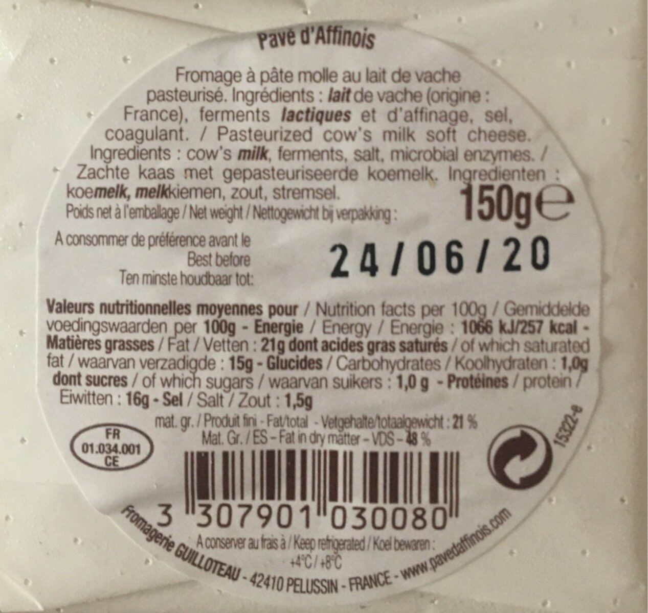 150G Pave D Affinois Preemballe - Informations nutritionnelles - fr