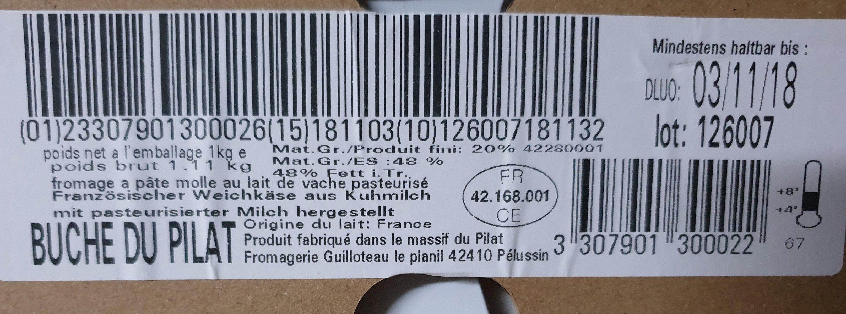 Bûche Du Pilat 20 % - Ingrediënten - fr