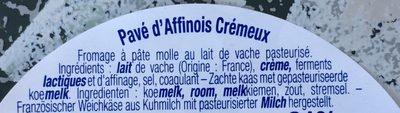 Pavé d'Affinois crêmeux - Ingredients
