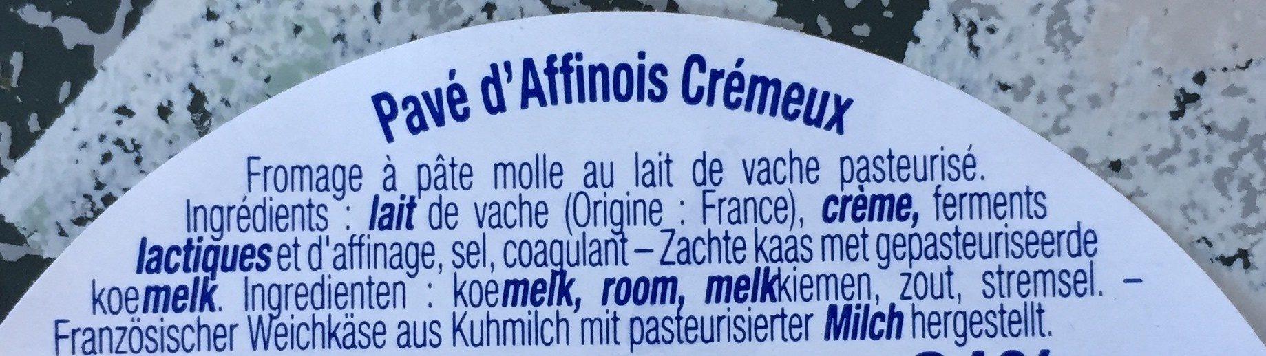 Pavé d'Affinois crêmeux - Ingredientes - es