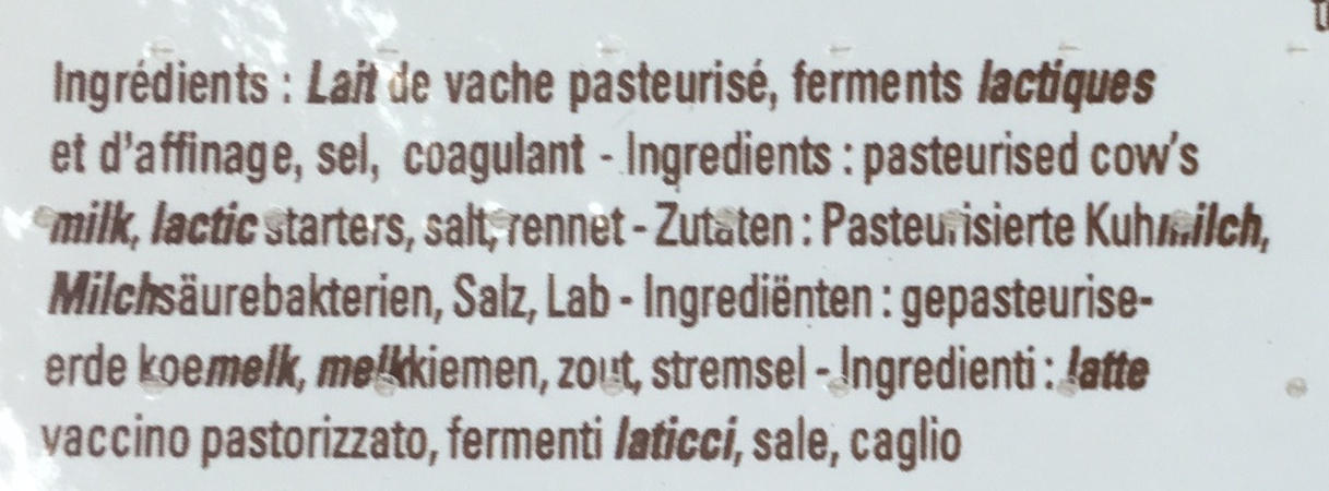 Pavé du Vivarois (20% MG) - Ingredients - fr
