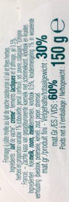 Pavé d'Affinois Ail & Fines herbes - Ingredients