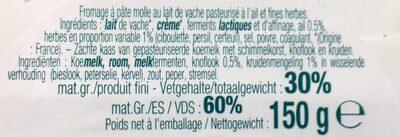 Pavé d'Affinois Ail & Fines herbes - Ingrédients - fr