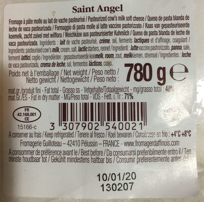 Saint angel - Nutrition facts - fr