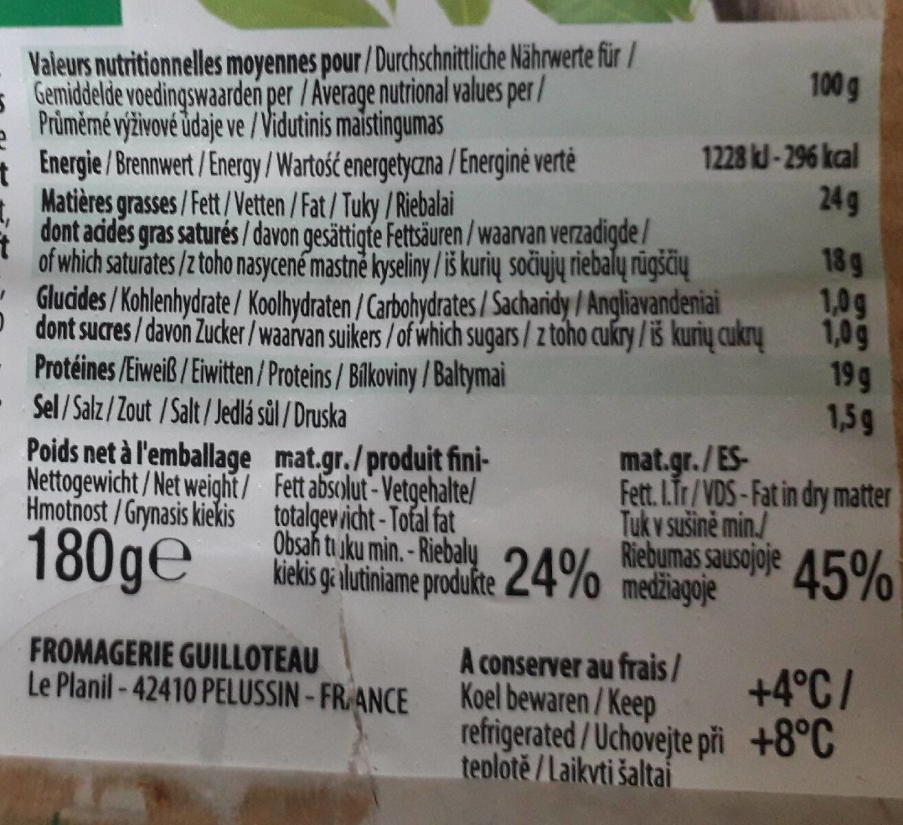 Bûche de chèvre fondante - Nutrition facts - fr