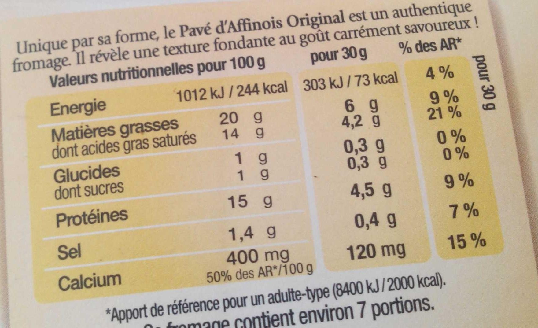 L'Original - Nutrition facts - fr