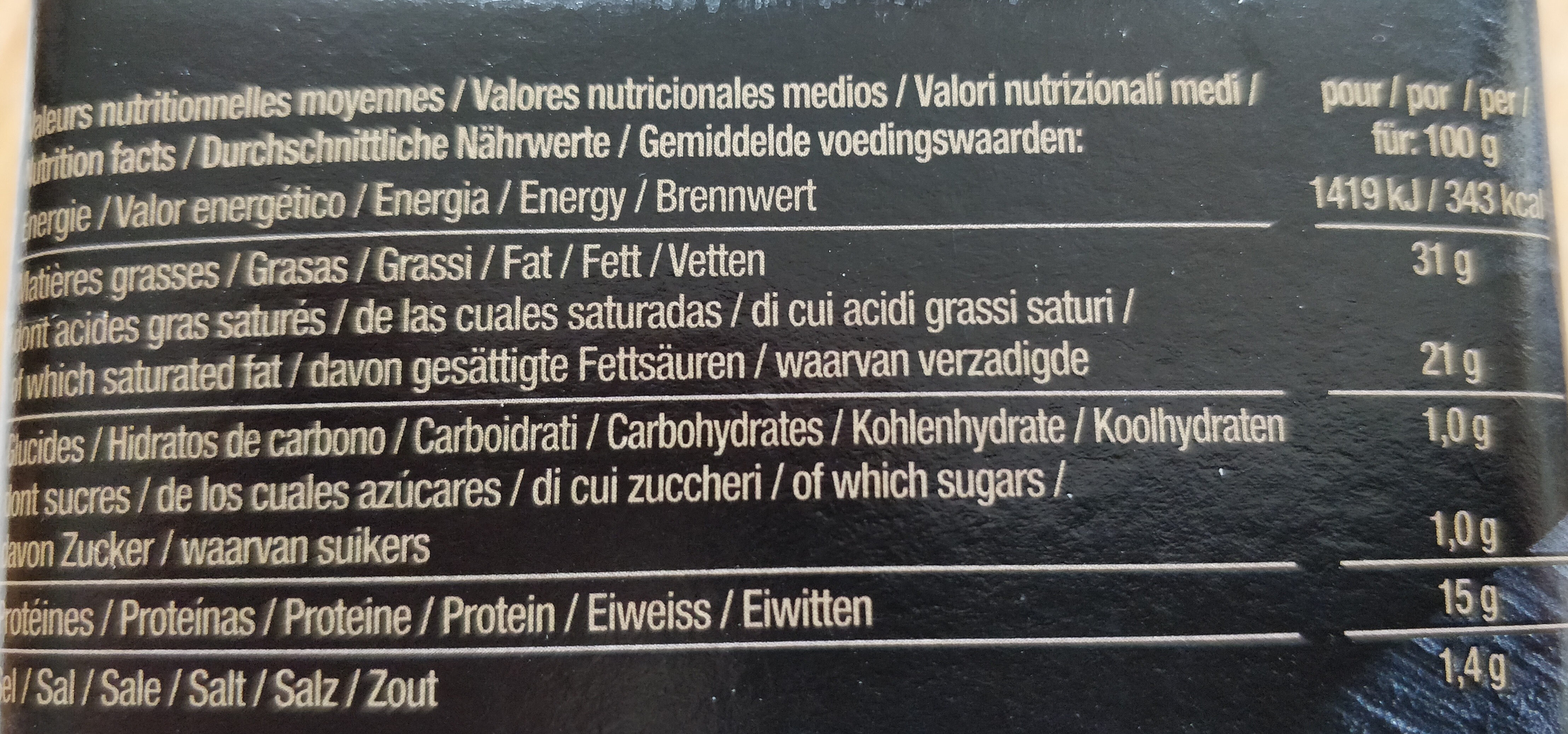 Plaisir - Nutrition facts - fr